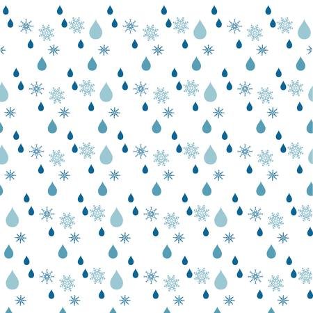 rein: Seamless blue rein drop and snow flakes pattern on white, stock vector illustration Illustration