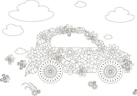 stock car: Flowers car, adult coloring page anti-stress stock vector illustration Illustration