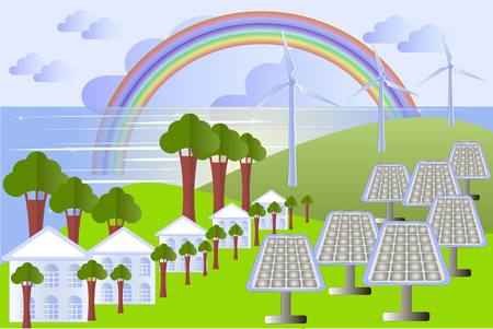 green power: Green city landscape with solar panels, wind power, buildings, trees vector illustration