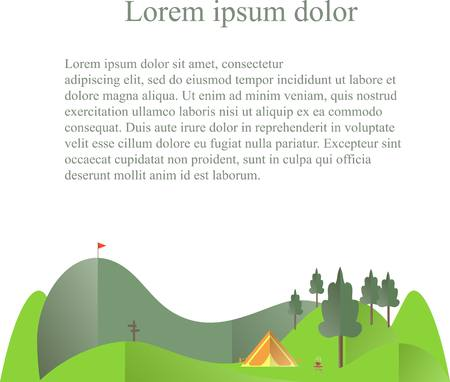 green hills: green hills, trees, orange tent below on white, lorem ipsum, travel conception flat design stock vector illustration Illustration