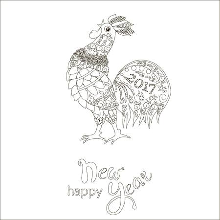 crows: Lettering Happy New Year, zendoodle stylized cock is crows, 2017, black and white hand drawn vector illustration