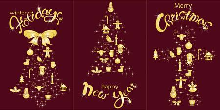 ginger bread: Set of postcard Happy Holidays, Happy New Year, Christmas holiday. Gold lettering and stylized Christmas tree, bell, ginger bread on burgundy, stock vector illustration