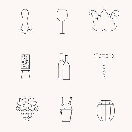 vine leaf: Set of line icons with different wine elements - bottle, grape, corckscrew, vine leaf, glass, barrel. Stock vector illustration line style icon series