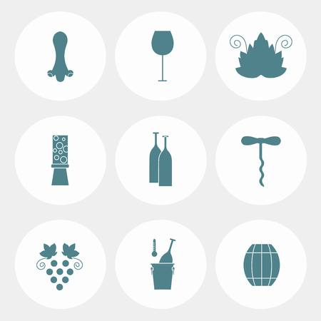 vine leaf: Set of round flat icons with different blue on white wine elements - bottle, grape, corkscrew, vine leaf, glass, barrel. Stock vector illustration flat style icon series
