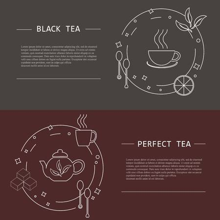 flayers: Design elements of tea concept, stock vector illustration. Vector flayers and banners in modern line style, object isolated, white tine line and lorem ipsum on grey and dark red background Illustration
