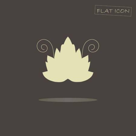 grape leaf: Light grape leaf on black, flat icon vector illustration