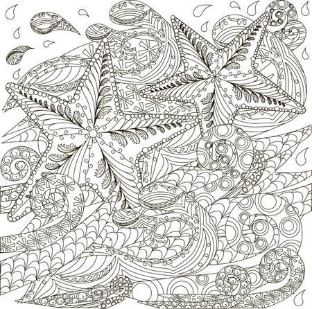 Hand drawn doodle starfish on waves, stock vector illustration