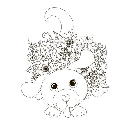 Flowers sitting dog coloring page anti-stress stock vector illustration