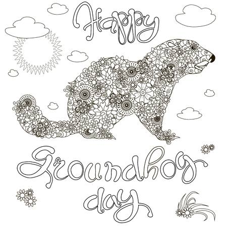 Sketch of banner Happy Groundhog day, floral groundhog, anti stress coloring bock page stock vector illustration