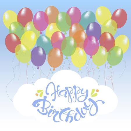 Congratulation card with blue lettering Happy Birthday on white, bright ballons on blue sky stock vector illustration Illustration