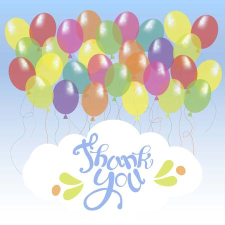 Banner with blue lettering Thank you on white cloud, bright ballons on blue sky stock vector illustration