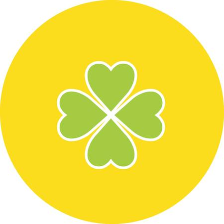 Set of St Patricks day flat icons, clover quatrefoil vector illustration Illustration