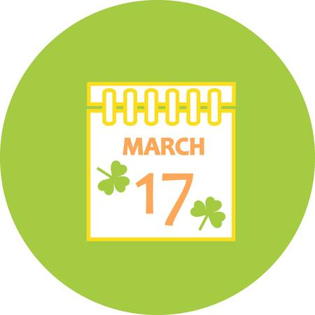 Set of St Patricks day flat icons, calendar 17 march vector illustration