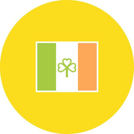 yelllow: Set of St Patricks day flat icons, flag vector illustration