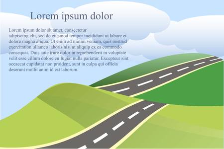 Landscape background with green heals grey road and blue clouds, Lorem ipsum vector illustration