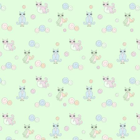 flaying: Pattern with owls, pastel colors stock vector illustration