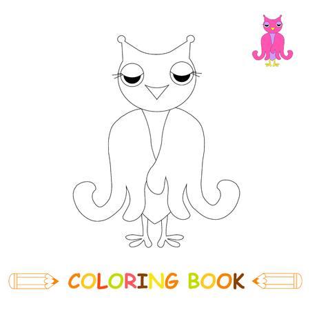 Ilustración De Vector De Página Para Colorear De Niños, Búho Lindo ...