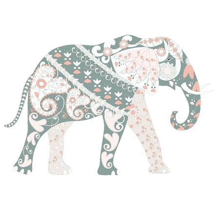 Dibujado A Mano Ornamental Colorido Elefante De Dibujos Animados Para Colorear Página E Imprimir