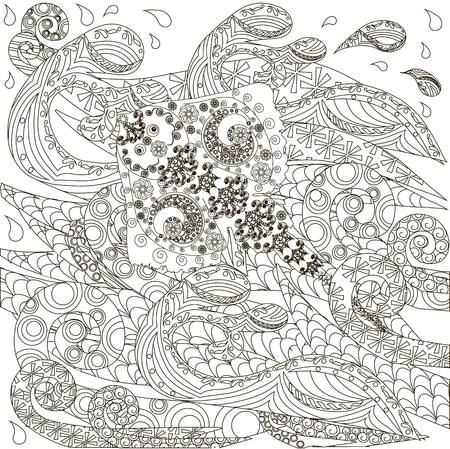 Dibujado A Mano Doodle Stingray En Ondas, Contra El Estrés Para ...