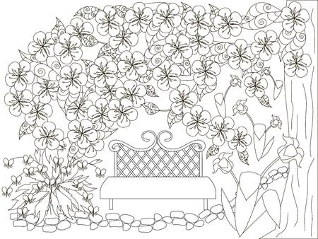 blooming spring garden monochrome doodle for anti stress page stock vector illustration illustration - Spring Garden Coloring Pages