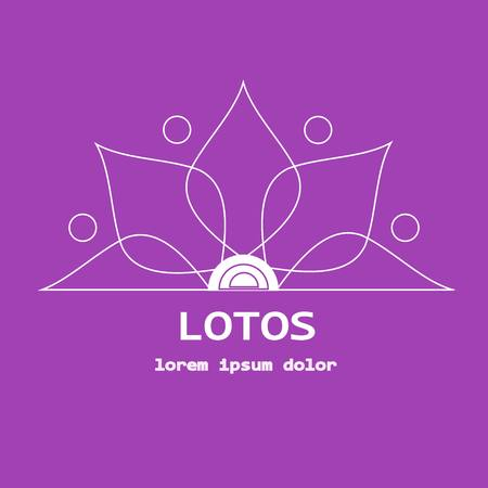 jpeg: Stock vector line yoga template, graphic design elements for spa center, studio, yoga club. Stylized thin white line lotos and lorem ipsum on violet