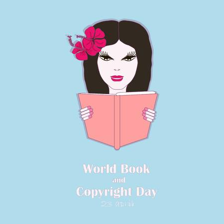 Typography banner World Book and Copyright Day, 23 april. Girl with book on blue stock vector illustration Illustration