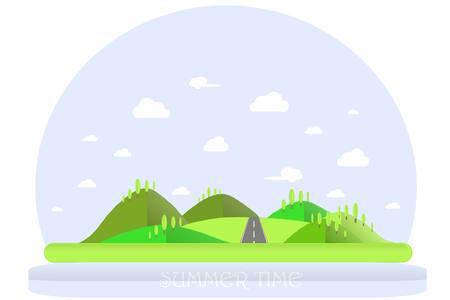 夏の風景。緑の丘、青い空、白い雲、緑、灰色の木高速道路。フラット デザイン、株式ベクトル イラスト  イラスト・ベクター素材