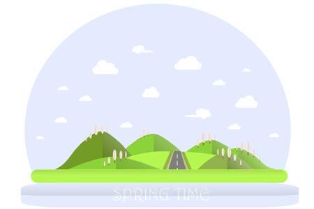 Spring landscape. Green hills, blue sky, white clouds, blooming pink trees, grey highway. Flat design, stock vector illustration Illustration