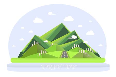 Spring mountain landscape. Green hills, blue sky, white clouds, green trees, grey highway. Flat design, stock vector illustration Illustration