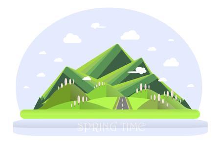 Spring mountain landscape. Green hills, blue sky, white clouds, green trees, grey highway. Flat design, stock vector illustration Illustration
