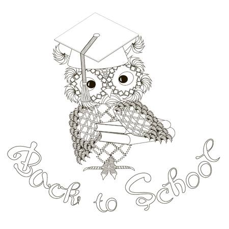 Stylized monochrome owl at students cap, lettering