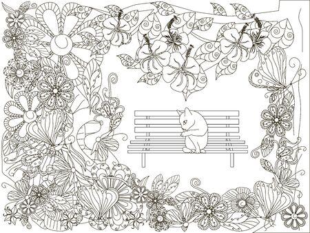 Fondo de flores dibujadas a mano doodle monocromo, gato se lava en el banco. Ilustración de vector stock anti estrés