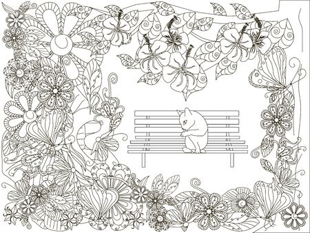 Monochrome doodle hand drawn flowers background, cat washes on the bench. Anti stress stock vector illustration