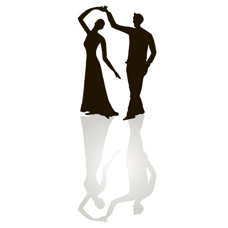 Black silhouette figures of dancing man and woman on white, gray shadow, tango dancing, stock vector illustration