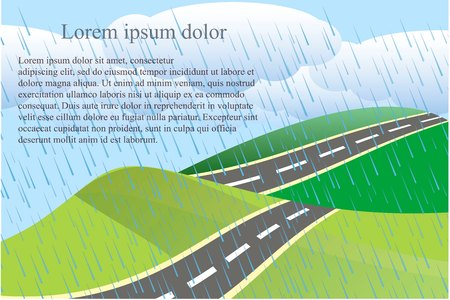 Landscape background with green heels and gray road, white clouds, rain drops, Lorem Ipsum stock vector illustration