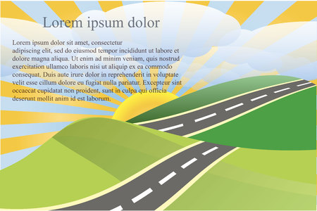 Landscape background with green heels and gray road, white clouds, yellow sun, Lorem Ipsum stock vector illustration Illustration