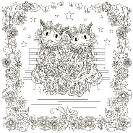 Monochrome doodle hand drawn cats pair on a bench, stars, flowers frame. Anti stress stock vector illustration