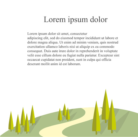 Landscape background with green heels, trees, road Lorem Ipsum on white stock vector illustration.