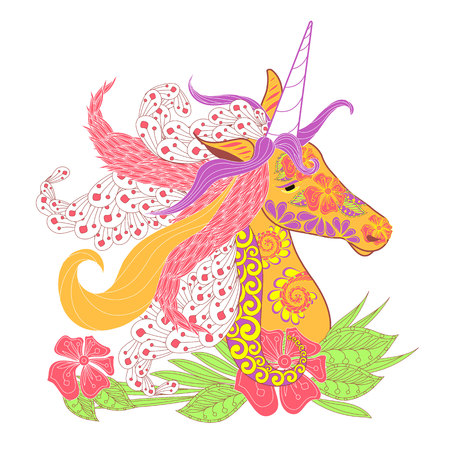 Colorful zentangle style unicorn head with lush mane stock vector illustration for print.