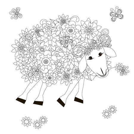 Flowers sheep monochrome sketch, coloring page anti-stress stok vector illustration for print, for coloring page