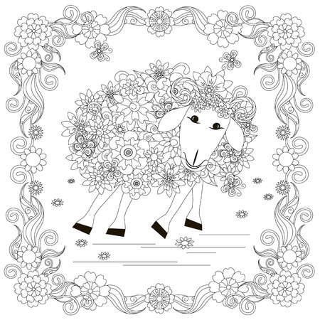 Flowers sheep in frame monochrome sketch, coloring page, anti-stress stok, vector illustration for print, for coloring page.