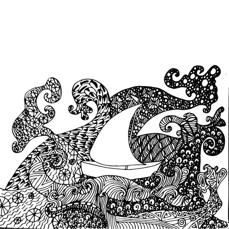 Hand drawn zen style on waves antistress coloring book stock vector illustration