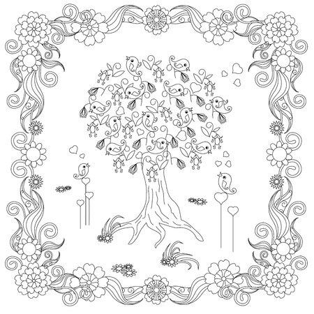 zentangle style tree with loving bird hearts in flower frame
