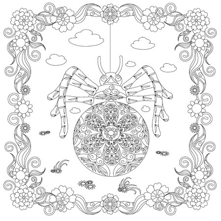 Zentangle style spider in flower frame monochrome sketch, coloring page antistress stock vector illustration for print, for coloring page