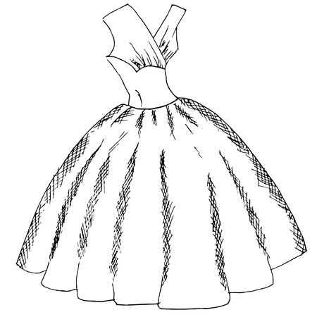 Ball dress sketch. Hand drawn monochrome ink stock vector illustration, design element for web, for print