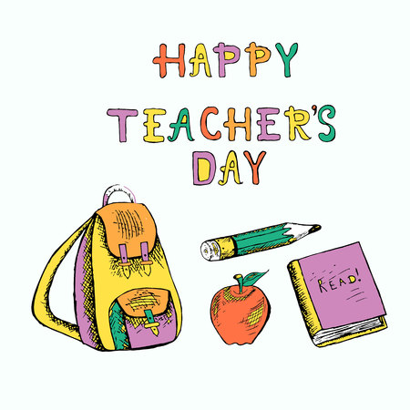 Typography banner lettering Happy teachers day. Violet, green, yellow, red backpack, apple, apple, pencil, book Иллюстрация