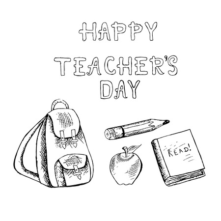 Typography banner lettering Happy teachers day. Monochrome backpack, apple, apple, pencil, book