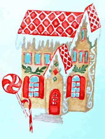Christmas gingerbread house on blue. Watercolor art stock vector illustration for web, for print