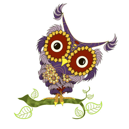 Hand drawn violet and yellow colorful cartoon owl on green branch for coloring page and print, stock vector illustration Illustration