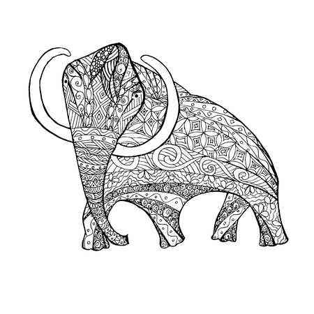 Zentangle style monochrome sketch mammoth, coloring page antistress stock vector illustration for print, for coloring page